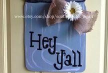 www.etsy.com/shop/rusticswank Door hangers by me! / Homemade Wooden Door Hangers made by me