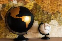 Maps, World and Globes / DIY, Decoration and Images with World Maps and Globes.  Karten für Reiselustige.