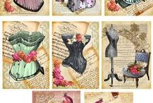 Corsets: Images, Templates for Art Journal & Mixed Media / Patterns, Printables, Templates. So glad we don't have to wear these anymore, but they make for great art journaling and mixed media projects.
