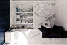 Powder Room / Chic bathroom designs and textiles.
