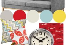 Living Room / Random items to plan new living room. Gray with yellow and red accent colours.  / by Jenny Escobell