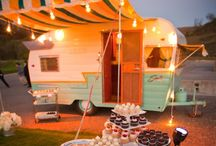 """Glamping! / Vintage campers, I want one.  Saw a piece about 15 years ago about """"Sisters On The Fly"""" and have wanted one since!  Oh, and now I'm looking for a 1940's to 1950's Jeep Willys to pull it with. Yes, they have to have the same paint job and match! / by Suzanne Gordon"""