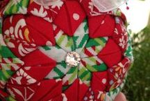 Folded Fabric Ornaments / Made for Christmas Gifting 2013