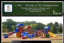 i Get... Going to the Playground Vocabulary Books and Social Skills Stories / Language building app with books for labeling and personalizing with your own title, sentences and sound.