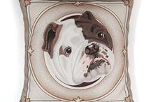 """Perfect Bulldog Pillows / Adorable English Bulldogs in frames are now pillow covers. They measure 17"""" x 17"""" Price: $30.00 Come visit for more info! Get a 20% discount on the whole store! Just put this url in your browser and join my mailing list: http://eepurl.com/b5mvPr"""