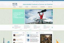 Identidade Visual Digital para ICCE / ICCE é uma empresa de intercâmbio cultural e cursos no exterior. O projeto cosistia em uma nova proposta para o site e blog da empresa, além de emails marketing.