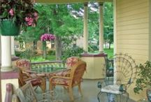 "Porches - the best place to relax / I would like to have a wrap-around porch with lots of rocking chairs. Some of these porches are so pretty. Mine is small and ""just average"", but I'm glad I have it. / by Phyllis Ranger"
