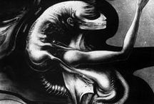 ♆ Art: H.R. Giger / Hans Rudolf Giger (5 February 1940 – 12 May 2014) was a Swiss surrealist painter, sculptor and set designer.[1] He was part of the special effects team that won an Academy Award for Best Achievement in Visual Effects for their design work on the film Alien.He was named to the Science Fiction and Fantasy Hall of Fame in 2013. / by Ămunet
