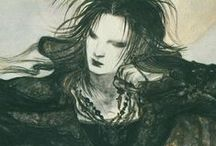 ♆ Art: Yoshitaka Amano / Yoshitaka Amano (天野 喜孝 (formerly 天野 嘉孝) (March 26, 1952) is a Japanese artist, character designer, illustrator and a theatre and film scenic designer and costume designer. / by Ămunet