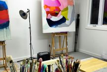 Behind the scenes: about my art / A glimpse of what goes on behind the scenes in my art career: studio shots, creating merchandise, exhibitions, art installations, and more.