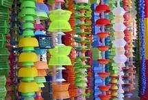 love plastic / recycled plastic, bag, bottle, spoon... des bouteilles, des sacs, des flacons, des couverts, des bouchons : ça de moins dans la poubelle! / by - SAND -