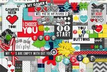 Games Scrapbooking supplies / Digital scrapbooking supplies with a games theme.