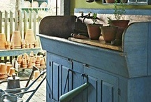 Potting Benches & Terra Cotta / Repurposed items made into useful potting benches.  Of course, terra cotta creations & pots go along with these.