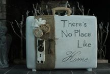 shabby chic suitcase and storage box