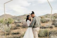 "Palm Springs Desert Wedding / Colorful ""California Dreamin'"" Modern Palm Springs Wedding with Retro Desert inspirations."