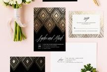 Black and Gold Wedding / A metallic themed wedding board to inspire your black and gold wedding ceremony and reception.
