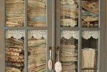 *Decorating with Vinatge Hankies ~ Doilies ~ Lace & Linens* / Pretty colors & lace / by Jo Niehoff