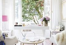 My home office / Home decoration inspiration for my home office where I do all of my fashion and beauty blogging from… Girly pink tassels white desk home office working from home office inspiration decorating / by Wear In LA
