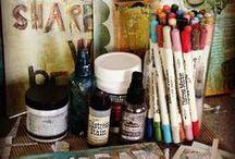 Art Studio & Paraphernalia / Things that inspire me to make a creative space; Art Supplies, treasures, organizational ideas, decorative notions & wall art ~ / by Kelley Appleby