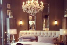 { Home Decor iLove } / to sum up my decor style... 1) beautiful chandeliers 2) dark wood floors 3) white/offwhite/light pink furniture/pillows, throws 4) different variation of grey walls 5) Monograms 6) Flowers 7) Floral scented soy candles = perfecto / by Sara Kobzanets