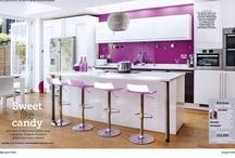 kitchens ~ purple acents / another very popular trend this season... in fact any color goes...only requirement is that you just love it !