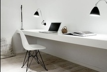 home : desk / home office, long desk, white ! wire organizer, printer hiding / by TheDudette