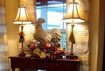 Country French / Country French is defined by its elegant look, with a touch of nature and country mixed in. The French manor look can be yours by bringing in these elements: antiques, blue and yellow, florals and nature inspiration, gilded elements, rustic country-inspired details, trims, and finishes (fringe, lace), and decorative faux finishes (stucco, patina, distressed). It embodies grace, charm, and simple elegance. The French Country style is warm and welcoming.    / by Margie Forrest