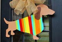 Door Decor / burlap projects, wooden door hangers & wreaths / by Britnee Evans