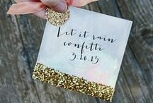 Go Glitter! / Glitter is glamorous! From invitations and seating charts, to accessories; glitter will dress up your party.