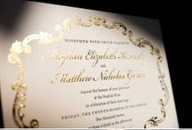 Foil Invitations / Add some shimmer to your printed event accessories with foiled letterpress. Choose from silver, gold, rose gold and a variety of colours to match your event style.