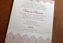 """{invitation design} vara / Vara, meaning """"blessings,"""" is a masterpiece much like the Taj Mahal. Floral patterns and the splendid architecture of this Hindu design will delight multicultural and South Asian couples alike."""