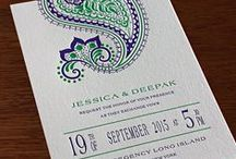 {invitation design} regency / An elaborate paisley crowns this Indian flavored wedding invitation for a night of champagne, shimmering lights, and romance. The mysterious motif of cultural origins becomes bright and bubbly with the floral influences and art deco details of this fusion design. A modern look for the wedding details is a playful combination of geometric borders and minimalist charm.