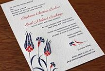 {invitation design} lale / Eastern European influences are seen in our Turkish-inspired tulip motif. The explosion of floral details is a celebration perfect for any spring wedding. The delicate embellishments of red, white, and blue translate to a beautiful summer wedding scheme, but the opportunities are endless with your favorite personal style and hues. Try silver foil details for a winter event or a pink and espresso combination for fall.