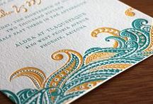 {invitation design} sneha / An undulating sea of flowers and vines laps the edges of an exotic beach in this incredible Indian influenced design Sneha. Like wild waves or a bed of feathers, this is a look that inspires the dreamer within us. The delicate floral touches and polka dot features brings childhood imaginations into play with this formal but fun look.
