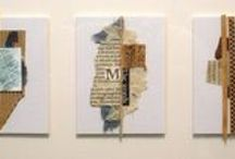 Judy Neunuebel Art / Weathered text, twine, old books, cardboard, photographs, handwritten notes, along with a myriad of other ephemera inspire Judy to create collages that are mysterious and somehow familiar at the same time. See more of her work at the Matthews Gallery in Santa Fe, New Mexico.