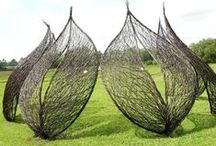Garden sculptures / Ideas for our community garden at Pen Dinas, Newtown, Powys