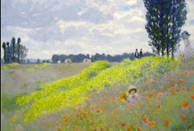 """Art Bead Scene Monthly Challenge - April with """"Walk in the Meadows at Argenteuil"""", by Monet / Spring is here - enjoy and get inspired by a pastel toned impressionist meadow landscape ....."""