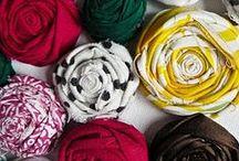 Цветы декоративные из бумаги и ткани