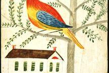 Pennsylvania Dutch / German Folk/Fraktur, Blacklettering, Pennsylvania Dutch motifs, new and antique