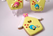 Decorated cookies, flowers, easter & spring