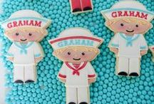 Decorated cookies, people and characters