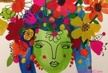 Floral Art / Illustration & collage, colorful and whimsical  / by Susan Rienzo