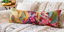 Vintage Kimono Bolster Cushions by Hunted and Stuffed / Vintage wedding kimono bolster cushions and long bolster pillows made from vintage Uchikake by Hunted and Stuffed.