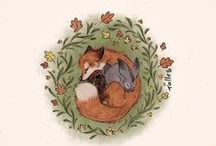 Fox and Hare / Images of foxes and hares or rabbits together. I love this imagery for some mythic reason.