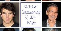 """Férfi - Tél színtípus / Hideg, élénk és kontrasztos színek állnak legjobban, ha ebbe a színtípusba tartozol. Szigorúan véve a """"Black tie"""" és  White tie"""", vagyis a fekete szmoking és frakk a megfelelő kiegészítőkkel csak rajtad mutat kifogástalanul, mert a többi színtípust sápasztja, beszürkíti. Ha nem vagy """"öltönyös"""", akkor is válassz mindig a táblán látható színekből. Ha nem vagy biztos, hogy ez jól áll-e, gyere el színtanácsadásra!"""