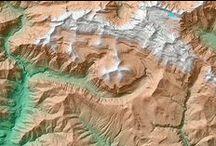"""Mapas topográficos con relieve / Mapas topográficos con relieve del terreno listas para enmarcar de la categoría """"Cumbres"""""""