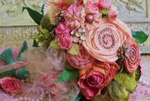 ribbon and fabric flowers / by Dee Schultz
