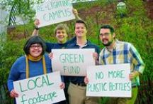 """Blue + Gold = GREEN / The Spartan community is committed to keeping the """"green"""" in Greensboro. We value, promote and encourage environmental sustainability."""