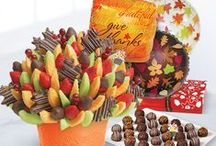Thankful for Fruit / Celebrate with fruit and chocolate that the whole family will enjoy! Our fruit arrangements for #Thanksgiving will make your Thanksgiving dinner look and taste even more spectacular! Our autumn-themed arrangements include festive pineapple leaves – great for table centerpieces or as a thoughtful gift for the host or hostess on #ThanksgivingDay. / by Edible Arrangements