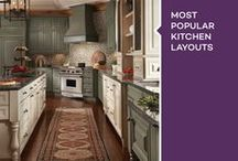 Most Popular Kitchen Layouts / When designing a new kitchen, the arrangement of the cabinets, major appliances and storage areas contributes to the overall experience you'll have working in the kitchen. The kitchen layout is a matter of preference, and it's often affected by the floor plan you start with and how much time and money you're willing to spend to change it. / by KraftMaid Cabinetry